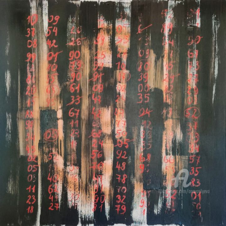 Abstract painting with red numbers - © 2019 science wall art, abstract expressionism, contemporary home decor, acrylic painting online, black red, math formulas art, school room, new age art, science art, contrast art Online Artworks