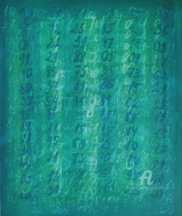 Small green field with numbers - Painting,  23.6x19.7x0.7 in, ©2019 by Anastasia Vasilyeva -                                                                                                                                                                                                                                                                                                                                                                                                                                                                                                                                                                                                                                                                                                                                                                                                                                                                                                                                                                                                                                                  Conceptual Art, conceptual-art-579, Abstract Art, Science, Science & Technology, mathematics and art, math artist, random numbers, abstract green painting, green blue, wissenschaft und Kunst, math formulas, chalk, chalk school board, chalk board, green school board, schoolboard, blackboard, kreide Tafel, colorfield painting, colorfield green, green field