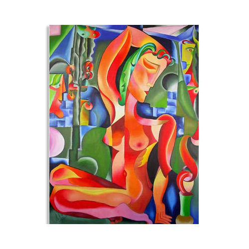 """Abstract Art Oil Painting """"RED NUDE"""" - Painting,  47.2x35.4 in, ©2018 by Andrei Dobos -                                                                                                                                                                                                                                                                                                                  Abstract, abstract-570, Abstract Art, abstract art, cubist art, oil on canvas"""