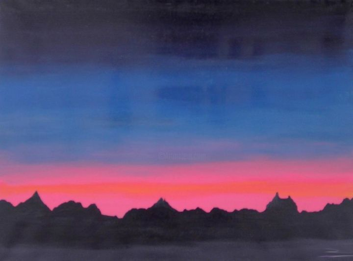 """Abstract Landscape Painting """"DUSK"""" - Painting,  60x80 cm ©2018 by Andrei Dobos -                                                            Abstract Art, Canvas, Abstract Art, landscape, abstract art"""