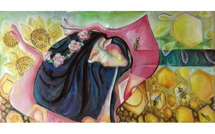 """Picasso Style Large Oil Painting """"BEE QUEEN"""" - Painting,  70x120 cm ©2018 by Andrei Dobos -                                                                        Abstract Art, Canvas, Abstract Art, Flower, abstract art, flowers, oil on canvas"""