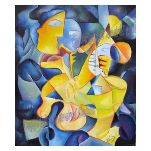 """Picasso Style Cubist Painting """"FROZEN RYTHMS"""" - Painting,  70x60 cm ©2018 by Andrei Dobos -                                                            Abstract Art, Canvas, Abstract Art, abstract art, oil on canvas"""