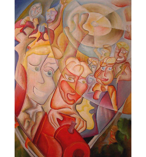"""Picasso Style Abstract Cubist Painting """"ROLLER COA - Painting,  200x140 cm ©2018 by Andrei Dobos -                                                            Abstract Art, Canvas, Automobile, fun, large canvas, abstract art"""