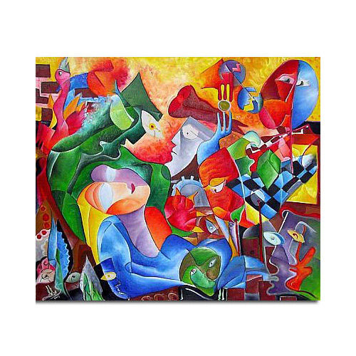 "Large Canvas Cubist Painting ""MYSTERIOUS LOVE"" - Painting,  120x140 cm ©2018 by Andrei Dobos -                                                                        Abstract Art, Cubism, Canvas, Love / Romance, love, large canvas, abstract art"