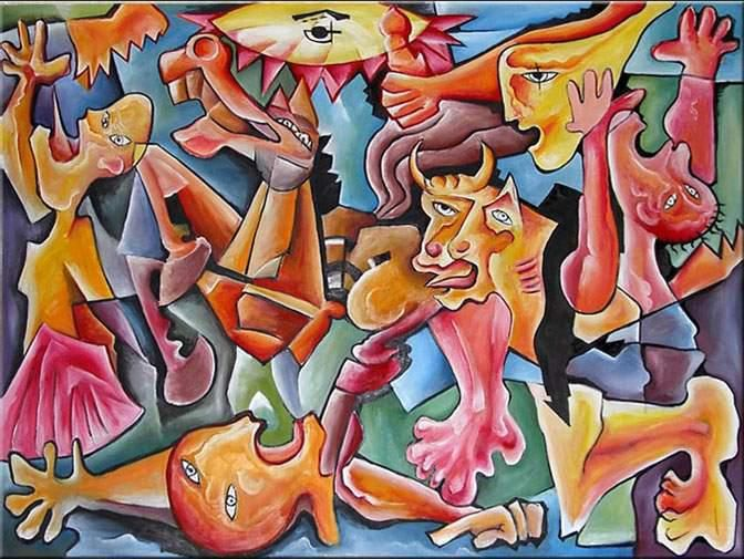 """Wow Style Large Canvas Cubist Painting """"THE FIGHT"""" - Painting,  140x200 cm ©2018 by Andrei Dobos -                                                            Abstract Art, Canvas, Abstract Art, cubist art, abstract art, large canvas"""