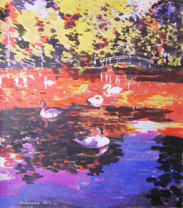 """Painting titled """"In the shade of tre…"""" by Robert Andersen, Original Art, Oil"""