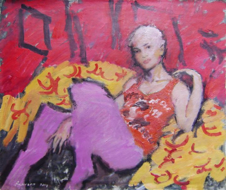 """Painting titled """"girl in a chair"""" by Robert Andersen, Original Art, Oil"""