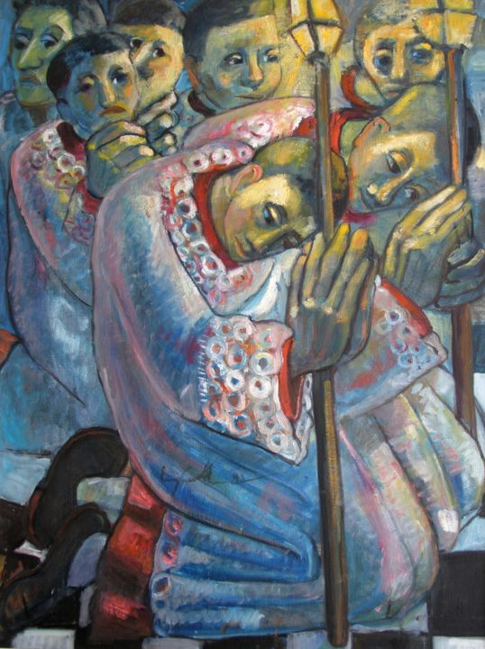mus005 - Coroinhas - Painting,  80x60 cm ©1993 by Luiz Carlos de Andrade Lima -                                                            Expressionism, Canvas, Religion, Andrade Lima, oil on canvas, drawings, watercolors, paintings, expressionism, pictures, figures, Brasil, Curitiba
