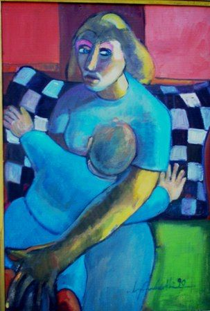 mus008 - Lila e Bruno 01 - Painting,  70x50 cm ©1990 by Luiz Carlos de Andrade Lima -                                                        Expressionism, Canvas, People