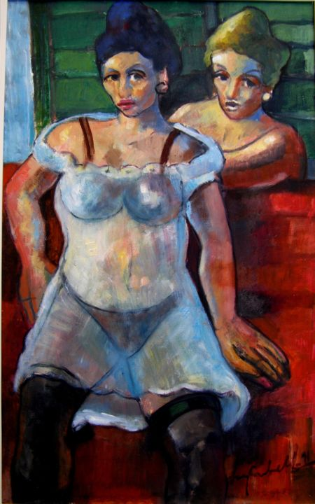mus004 - Mulheres da noite - Painting,  80x50 cm ©1965 by Luiz Carlos de Andrade Lima -                                                            Expressionism, Canvas, Erotic, Andrade Lima, oil on canvas, drawings, watercolors, paintings, expressionism, pictures, figures, Brasil, Curitiba