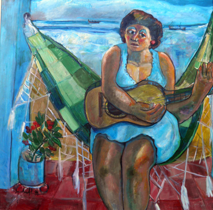 mus012 - Mulher na rede - Painting,  100x100 cm ©1994 by Luiz Carlos de Andrade Lima -                                        Expressionism, Canvas