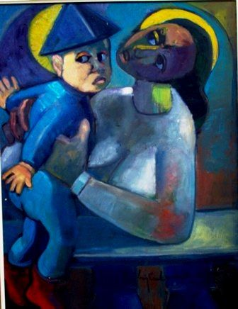 mus053 _ Lila e Bruno 02 - Painting,  29.1x21.3x0.4 in, ©1990 by Luiz Carlos De Andrade Lima -                                                                                                                                                                          Expressionism, expressionism-591, Family