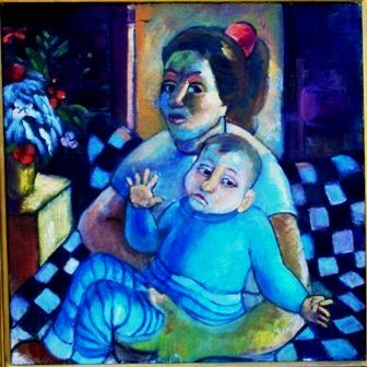 mus056 - Lila e Bruno 03 - Painting,  25.6x25.6 in, ©1990 by Luiz Carlos De Andrade Lima -                                                                                                                                                                          Expressionism, expressionism-591, Family