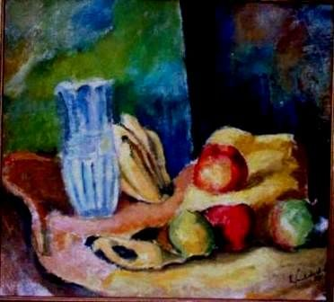 mus061 - Natureza morta - Painting,  15.8x16.9 in, ©1955 by Luiz Carlos De Andrade Lima -                                                                                                                                                                          Expressionism, expressionism-591, Still life