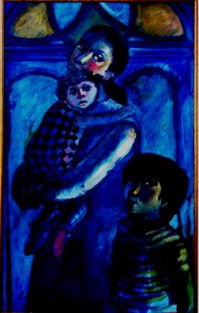 mus078 - Familia do artista - Painting,  31.5x19.7x0.4 in, ©1974 by Luiz Carlos De Andrade Lima -                                                                                                                                                                          Expressionism, expressionism-591, Family