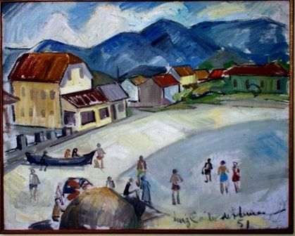 mus082 - Praia de Matinhos - Hotel Beira Mar - Painting,  18.9x23.6 in, ©1951 by Luiz Carlos De Andrade Lima -                                                                                                                                                                          Expressionism, expressionism-591, Landscape