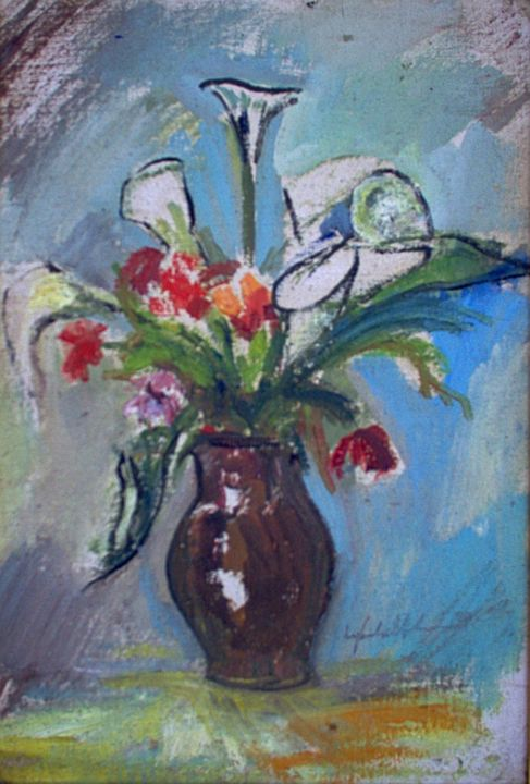 mus001 - Flores - Painting,  34x23 cm ©1950 by Luiz Carlos de Andrade Lima -                                                            Expressionism, Canvas, Flower, Andrade Lima, oil on canvas, drawings, watercolors, paintings, expressionism, pictures, Brasil, Curitiba