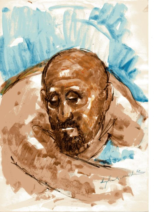 005 - Figura - Painting,  30x21 cm ©1982 by Luiz Carlos de Andrade Lima -                                                        Expressionism, Paper, People