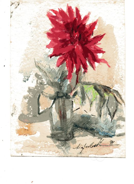 010 - Flor - Painting,  25x19 cm ©1984 by Luiz Carlos de Andrade Lima -                                                        Expressionism, Paper, Flower