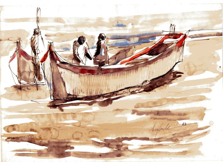 013 - Barcos - Painting,  8.3x11.8x0.4 in, ©1983 by Luiz Carlos De Andrade Lima -                                                                                                                                                                          Expressionism, expressionism-591, Boat