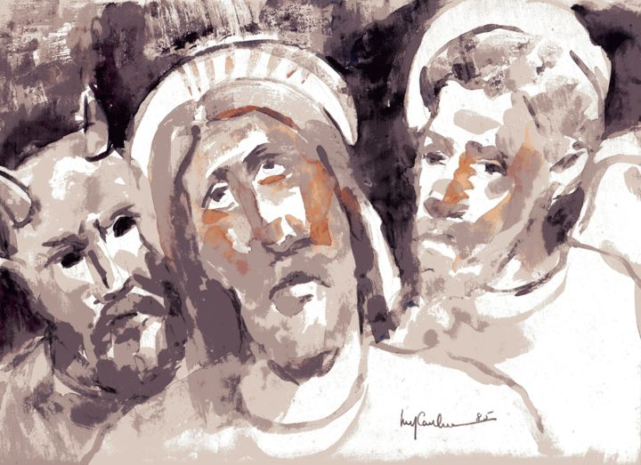 014 - Cristo - Painting,  32x24 cm ©1985 by Luiz Carlos de Andrade Lima -                                                        Expressionism, Paper, Religion