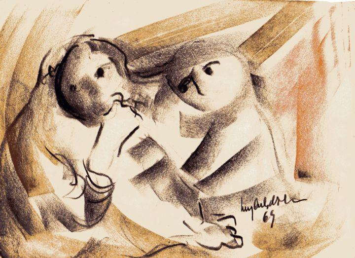 018 - Figuras - Drawing,  32x23 cm ©1969 by Luiz Carlos de Andrade Lima -                                                        Expressionism, Paper, People