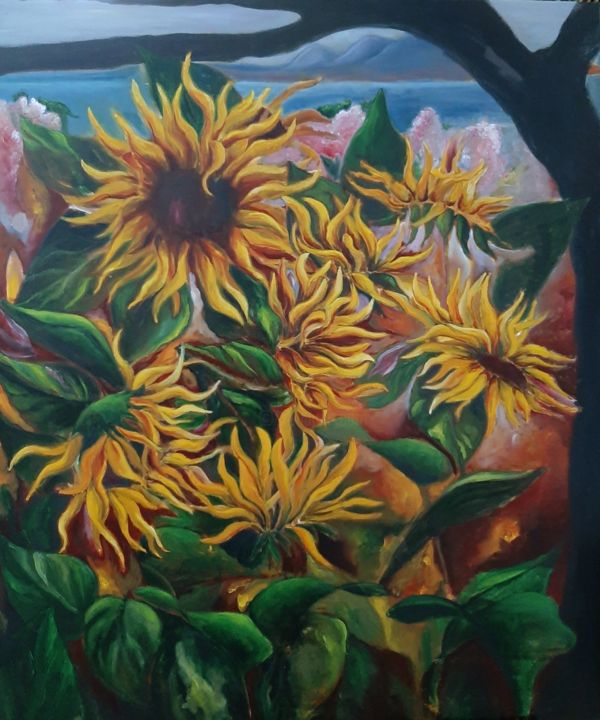 """Painting titled """"Libertad amarilla-v…"""" by Andrea Gedl, Original Art, Oil"""