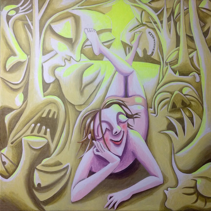 """Painting titled """"Daydreaming girl in…"""" by Andrea Riegler, Original Art, Acrylic"""