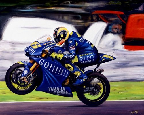 Valentino Rossi On Yamaha Yzr M1 Motogp 2004 Painting By Andrea Del