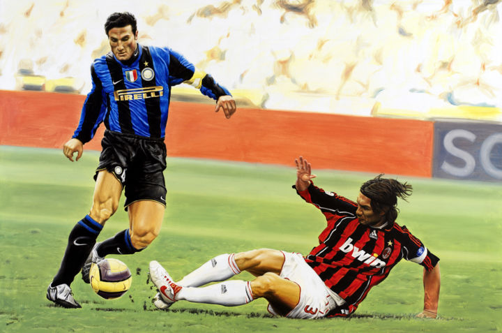 Javier Zanetti and Paolo Maldini during the Milan's Soccer ...