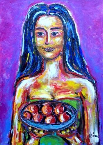 MENINA COM FRUTAS/GIRL WITH FRUIT - Painting,  27.6x19.7 in, ©2009 by Andréa Dórea -