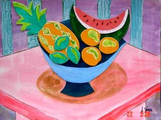 Fruteira/ Fruit bowl - Painting,  9.8x13.8 in, ©2006 by Andréa Dórea -