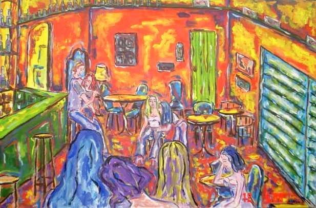 O Pub / The Pub - Painting,  0.4x31.5 in, ©2006 by Andréa Dórea -