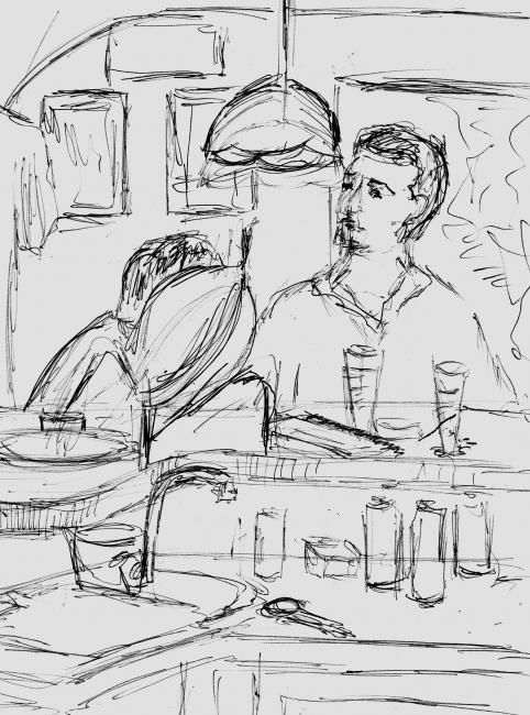 NO BAR II / IN THE BAR II - Painting,  11.8x7.9 in, ©2006 by Andréa Dórea -