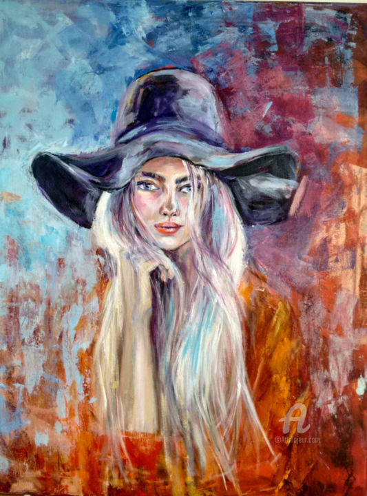 """Painting titled """"The girl with the b…"""" by Andrea Gakova, Original Art, Acrylic"""