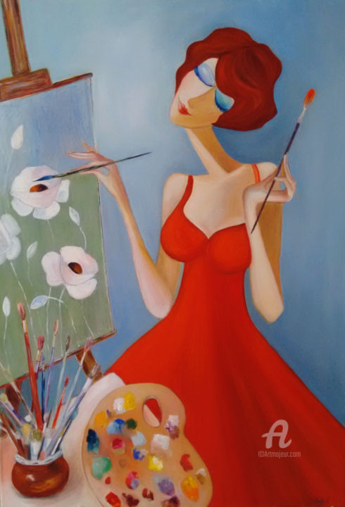 The cute artist - Peinture,  39,4x27,6x0,6 in, ©2019 par Andrea Gakova -                                                                                                                                                                                                                                                                      Naive Art, naive-art-948, Personnes, the painter, girl in the red dress