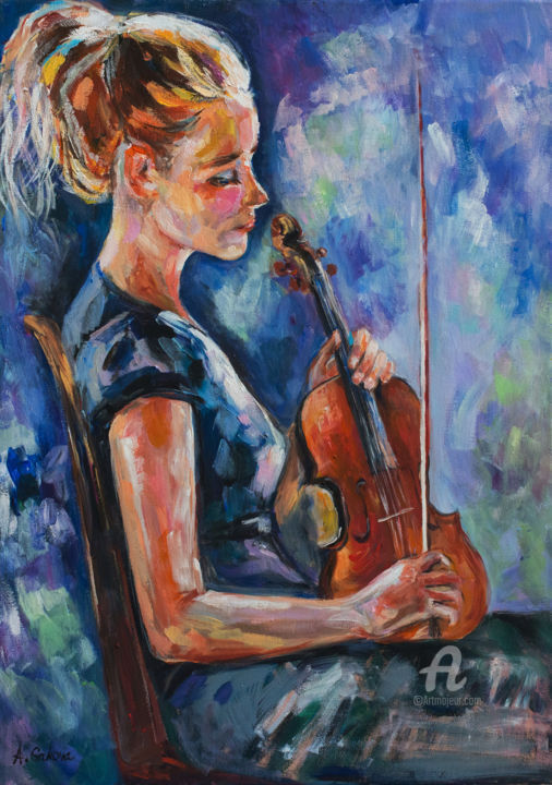 """Painting titled """"The violinist"""" by Andrea Gakova, Original Art, Acrylic"""