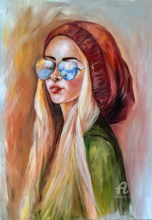 """Painting titled """"Girl with the red c…"""" by Andrea Gakova, Original Art, Acrylic"""