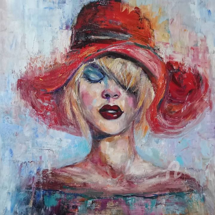 """Painting titled """"Girl with the red h…"""" by Andrea Gakova, Original Art, Oil"""