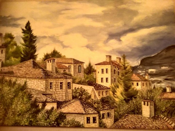 Greek village - Painting,  50x70x2 cm ©2017 by Ανδρέας Ανατολιτης -                                            Folk, Architecture, νοσταλγία, χωριο, ελλαδα, nostalgic, greek, village, vacations