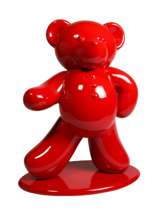 """Sculpture titled """"Ours Rouge 45cm Co.…"""" by Harouna Andre Guillabert Gacko, Original Art, Resin"""