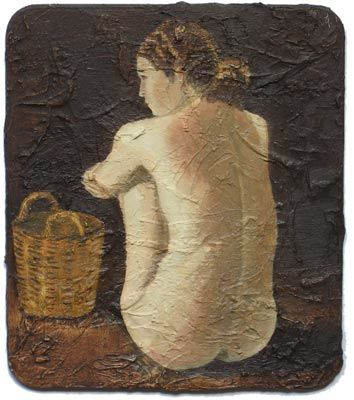 """Painting titled """"Nude with Basket"""" by Andrei Overweel, Original Art, Oil"""
