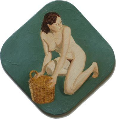 """Painting titled """"Nude with Basket Kn…"""" by Andrei Overweel, Original Art, Oil"""
