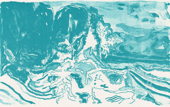 """Printmaking titled """"Les Vagues"""" by Andreja Soleil, Original Art, Lithography"""