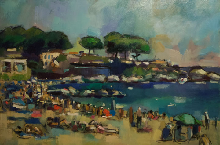 The Beach at Calella #2 - Painting,  24x36x1.5 in, ©2017 by andrepallat -                                                                                                                                                                                                                                                                                                                                                                                                          Impressionism, impressionism-603, Landscape, Landscape, Seascape, Beach, Spain, Holiday