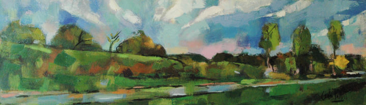 Road near Petworth - Painting,  12x39x1.5 in, ©2017 by andrepallat -                                                                                                                                                                                                                                                                                                                                                                                                                                                      Impressionism, impressionism-603, Landscape, Landscape, Semi-Abstract, Sussex, Countryside, West Sussex, Petworth