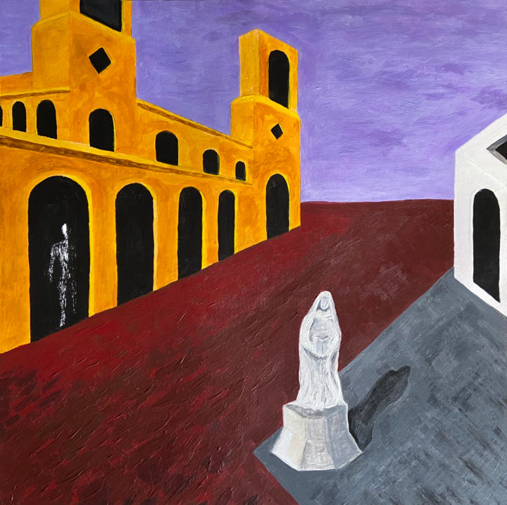 La Città Morale (Moral City) - Pittura,  19,7x19,7x0,1 in, ©2019 da Andrew Goreds (The Outsider) -                                                                                                                                                                                                                          Surrealism, surrealism-627, Paesaggio, Metafisico
