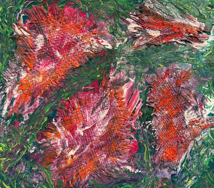 Extro Vert I - Pittura,  11x12,2x0,1 in, ©2019 da Andrew Goreds (The Outsider) -                                                                                                                                                                                                                                                                                                                                                                                                                                                                                                                                                                                                                                      Abstract, abstract-570, Botanico, artwork_cat.Colors, Fiore, Interiori, Spiritualità, Flowers, garden, emotions, feelings, colourful, abstract
