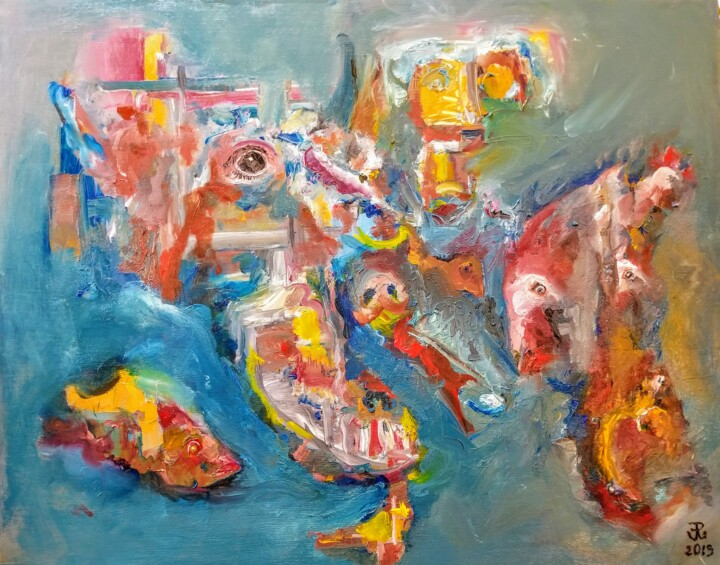 Eat eat eat - Painting,  24x30x2 in ©2019 by Andrew Walaszek -                                            Abstract Expressionism, Abstract Art, Industrial farming
