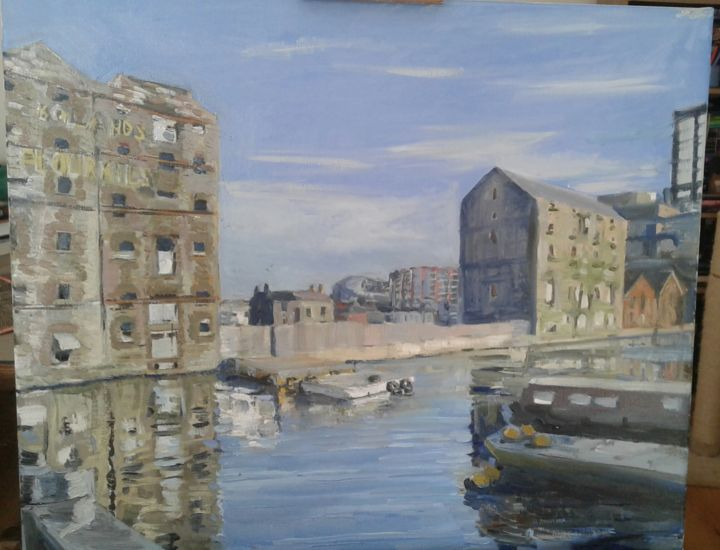 """Painting titled """"Boland's Mill, Dubl…"""" by Andrew Moore, Original Art, Oil"""